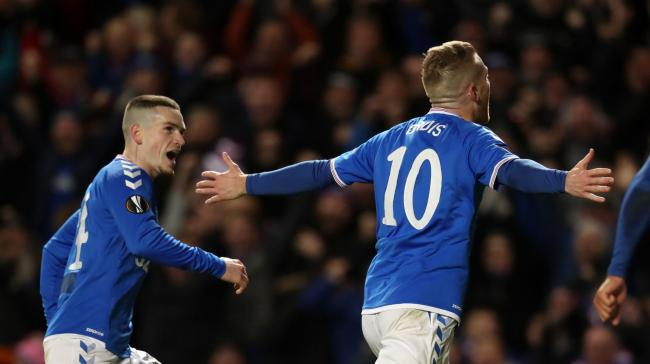 Rangers' Steven Davis celebrates scoring his side's second goal of the game during the UEFA Europa League match at Ibrox Stadium, Glasgow. PA Photo. Picture date: Thursday November 7, 2019. See PA story SOCCER Rangers. Photo credit should read: A