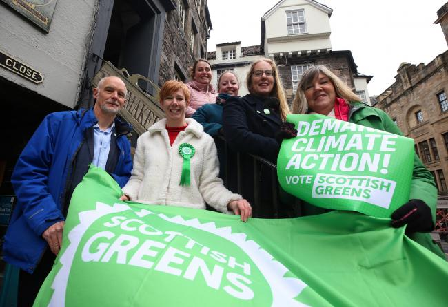 Edinburgh Green candidates from left: Steve Burgess, Claire Miller, Kate Nevens, Elaine Gunn with co-leader Lorna Slater and MSP Alison Johnstone campaign on Edinburgh's Royal Mile