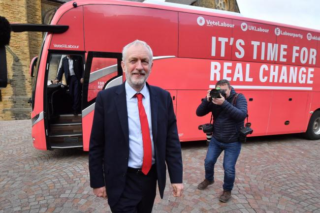 Jeremy Corbyn arrives in Blackpool town centre ahead of delivering a speech on the party's education policy
