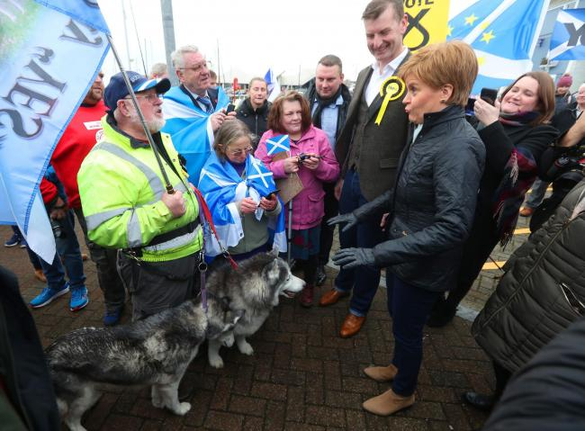Scottish First Minister Nicola Sturgeon meets voters and activists in Arbroath