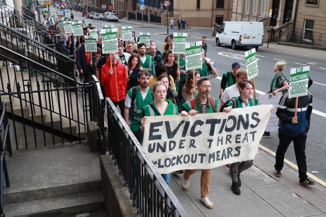 Serco Demo 1 SA :..Serco Demo, Lock MEARS Out of Glasgow - No Evictions! ...Picture by Stewart Attwood...All images © Stewart Attwood Photography 2019.  All other rights are reserved. Use in any other context is expressly prohibited without pr