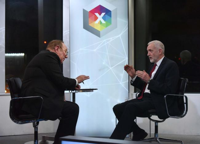 Jeremy Corbyn being interviewed by Andrew Neil, a high-pressure situation that Boris Johnson has cowardly avoided