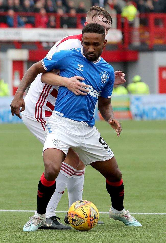 Hamilton Academical's Jamie Hamilton and Rangers' Jermain Defoe battle for the ball during the Ladbrokes Scottish Premiership match at the Fountain of Youth Stadium, Hamilton. PA Photo. Picture date: Sunday November 24, 2019. See PA story SOCCER