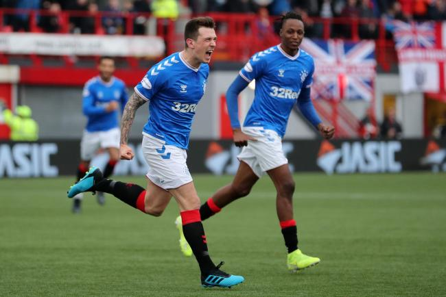 Rangers' Ryan Jack (left) celebrates scoring his sides first goal during the Ladbrokes Scottish Premiership match at the Fountain of Youth Stadium, Hamilton. PA Photo. Picture date: Sunday November 24, 2019. See PA story SOCCER Hamilton. Photo credit