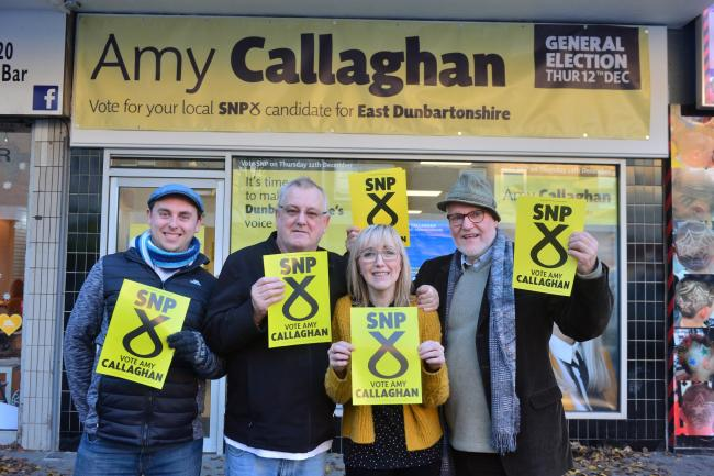 Canvassers Euan Purchase, William Copland, Lesley and Activist George Brown for SNP candidate for East Dunbartonshire, Amy Callaghan. Photograph: Kirsty Anderson