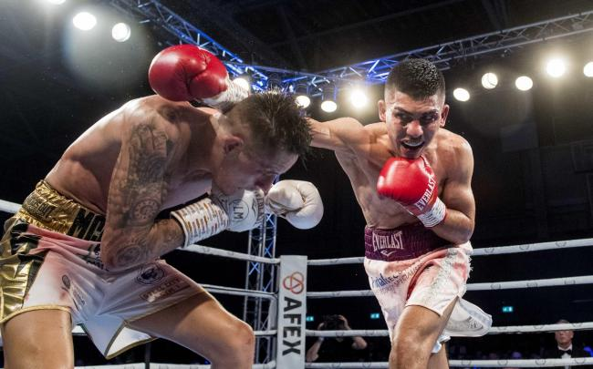Lee McGregor and Kash Farooq in action during the British and Commonwealth Bantamweight title fight