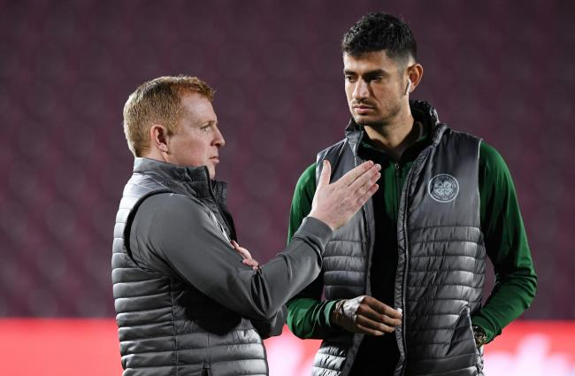 Celtic manager Neil Lennon and Nir Bitton