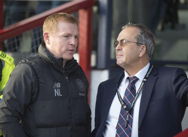 Celtic manager Neil Lennon, left, speaks to Ross County chairman Roy MacGregor in Dingwall: Picture: Ian Rutherford/PA Wire.