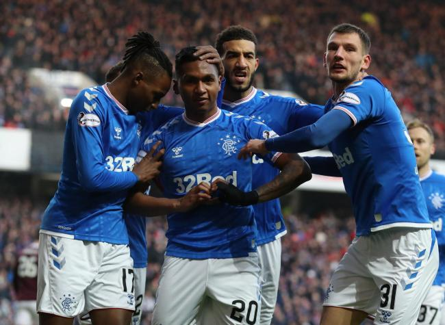 Rangers' Alfredo Morelos celebrates scoring his side's first goal of the game against Hearts. Picture: PA