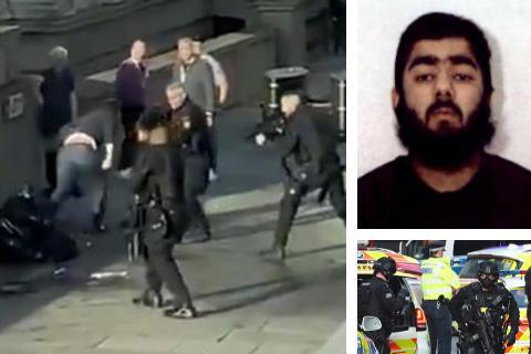 The National: Usman Khan (top right) attacked several people before being shot dead by police on London Bridge