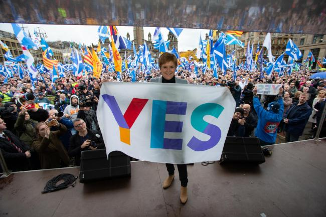 First Minister Nicola Sturgeon, pictured at The National's rally, wants to stick with the SNP's current policy of getting an agreed referendum with the UK Government through a transfer of powers to Holyrood       Photo Colin Mearns