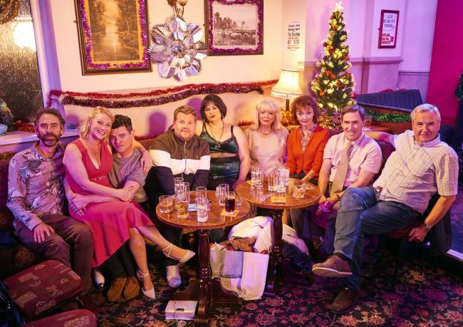 Pictured from left: Rob Wilfort as Jason, Joanna Page as Stacey, Matthew Horne as Gavin, James Corden as Smithy, Ruth Jones as Nessa, Alison Steadman as Pam and Melanie Wal