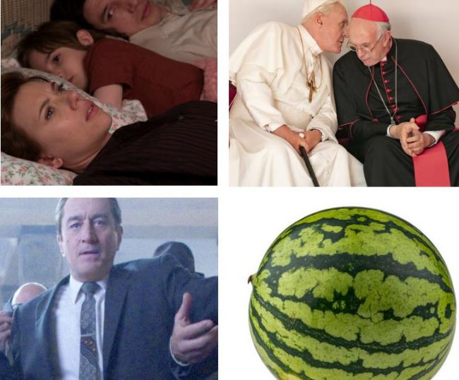 Clockwise from top left: Marriage Story, Two Popes, and a watermelon features in The Irishman