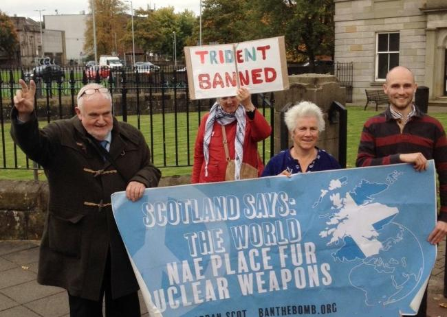 Letter-writer Brian Quail, Angie Zelter and Sam Donaldson protest against the UK's nuclear weapons