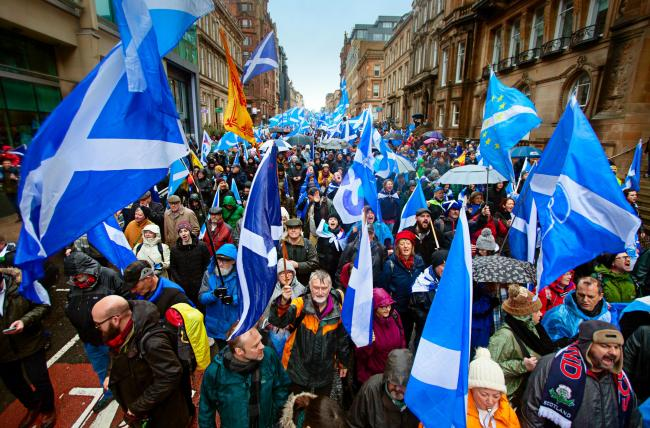 Pro-independence marchers braved torrential rain and fierce winds at AUOB's Glasgow event. Colin Mearns