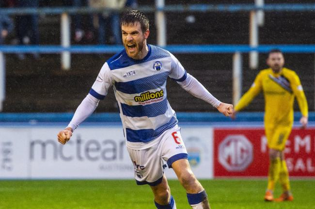 Morton's Kyle Jacobs celebrates after scoring to make it 1-1 against Dunfermline
