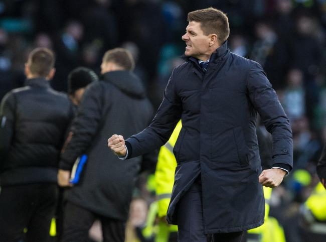 Steven Gerrard celebrates on the whistle during the Ladbrokes Premiership match between Celtic and Rangers at Celtic Park on December 29
