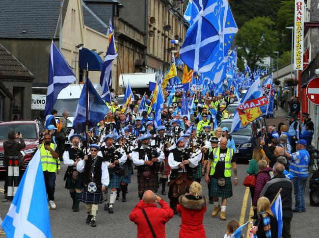 Saor Alba Pipes and Drums lead last year's AUOB march through Oban