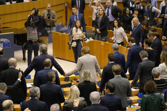 MEPs sang Auld Lang Syne after the UK and EU's Brexit deal was approved last week
