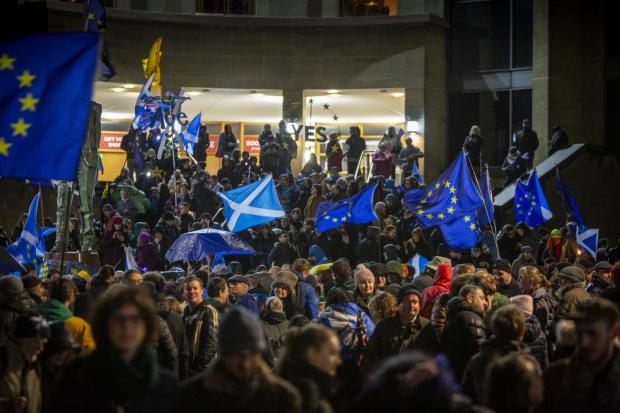 The National: Yes campaigners in Glasgow, where Dickson was inspired to organise her own march