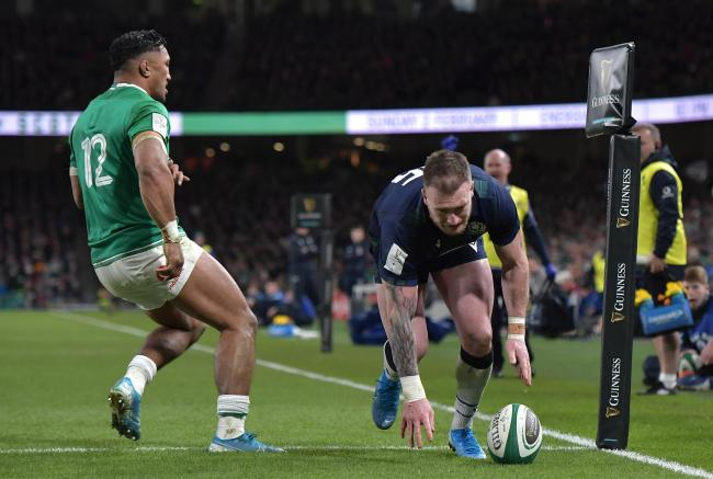 Scotland rugby captain Stuart Hogg dropped the ball when poised to score a crucial try against Ireland in the Six Nations