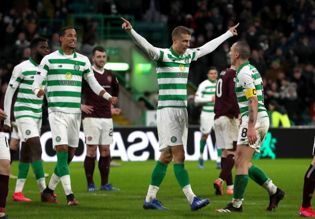 Jozo Simunovic scored Celtic's fifth in the 5-0 rout of Hearts.