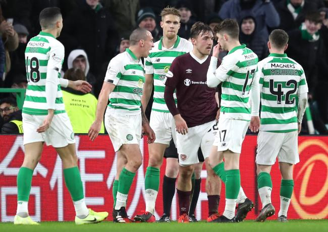Hearts' Marcel Langer (third right) leaves the pitch after getting a red card during the Ladbrokes Scottish Premiership match at Celtic Park, Glasgow. PA Photo. Picture date: Wednesday February 12, 2020. See PA story SOCCER Celtic. Photo credit should