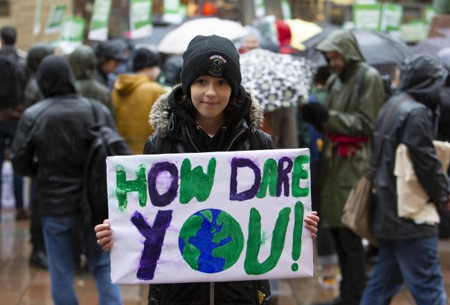 Genevieve Mearns, aged 12, at last Friday's climate strike in Glasgow