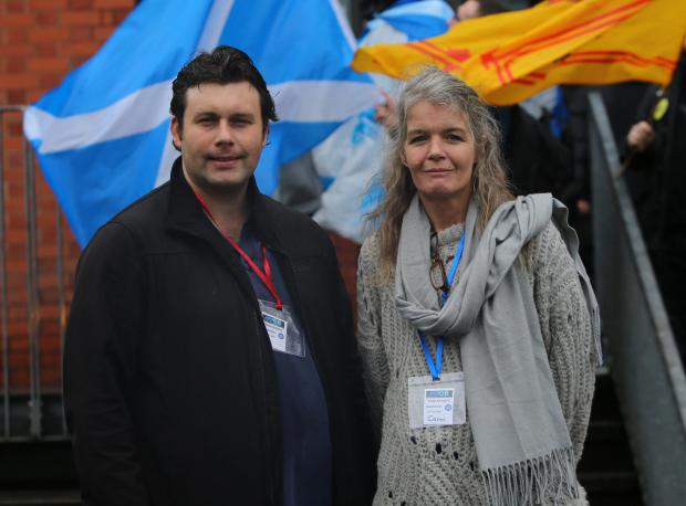 The National: Neil Mackay (left) and Carol McNamar from AUOB