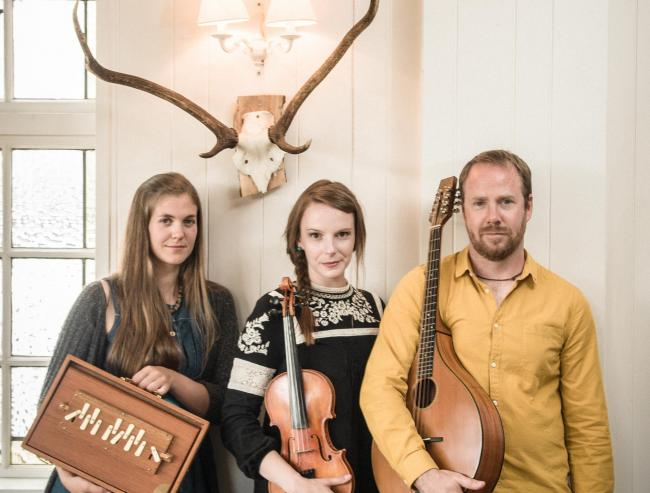 From left, Jenny Sturgeon, Lauren MacColl, and Ewan MacPherson: Salt House are releasing their third album, Huam - a word which describes an owl's call in Scots