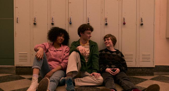 Wyatt Oleff as Stanley and Sophia Lillis (right) as Syd in I Am Not Okay With This