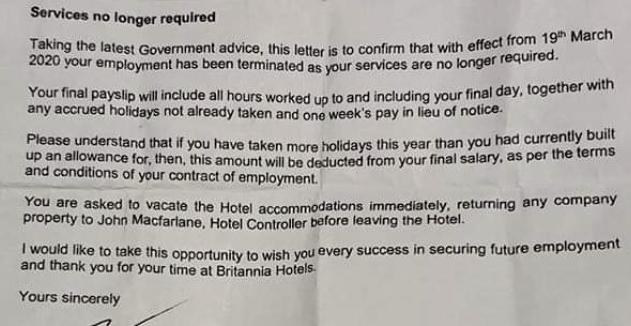 The hotel issued the letters asking staff to leave with 'immediate effect'