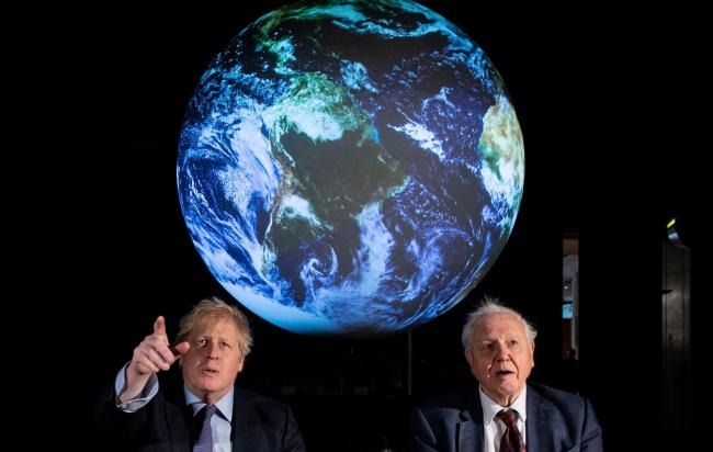The Prime Minister Boris Johnson (left) and Sir David Attenborough at the launch of the next COP26 UN Climate Summit