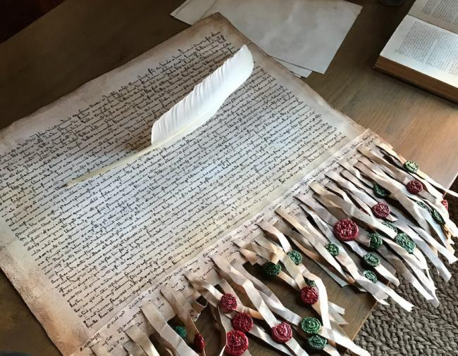 An impressive replica Declaration of Arbroath was produced for the 30-minute documentary film