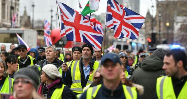 Pro-Brexit demonstrators on Whitehall, central London. PRESS ASSOCIATION Photo. Picture date: Saturday January 12, 2019. See PA story PROTEST Rally. Photo credit should read: Dominic Lipinski/PA Wire