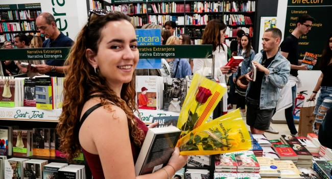 The annual celebration would usually see many Catalans out buying books and roses