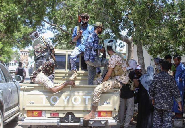Fighters with Yemen's separatist Southern Transitional Council (STC) deploy in the southern city of Aden