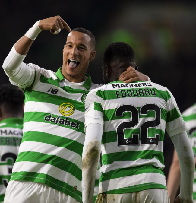 Odsonne Edouard, right, celebrates a goal with his Celtic team mate Christopher Jullien. Photo by Craig Williamson/SNS Group.