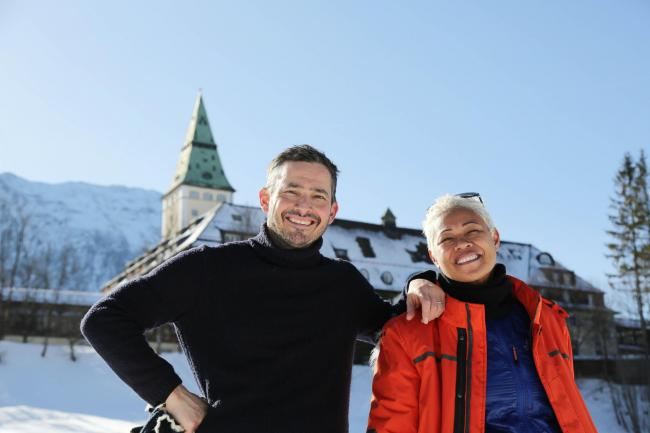 Giles Coren and Monica Galetti outside the Schloss Elmau hotel in the Alps