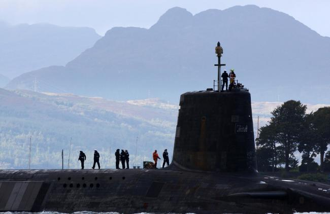 A Trident submarine at the Faslane base