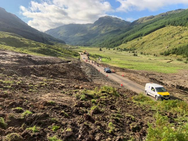 The Old Military Road was blocked after around 6000 tonnes of debris became dislodged