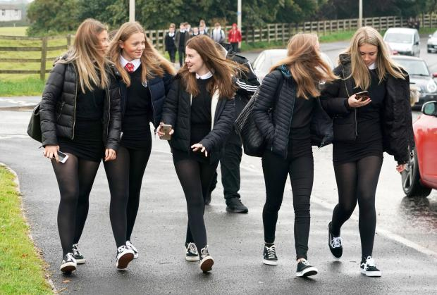 The National: Students arrived at Kelso High School in the Scottish Borders to go back to school today