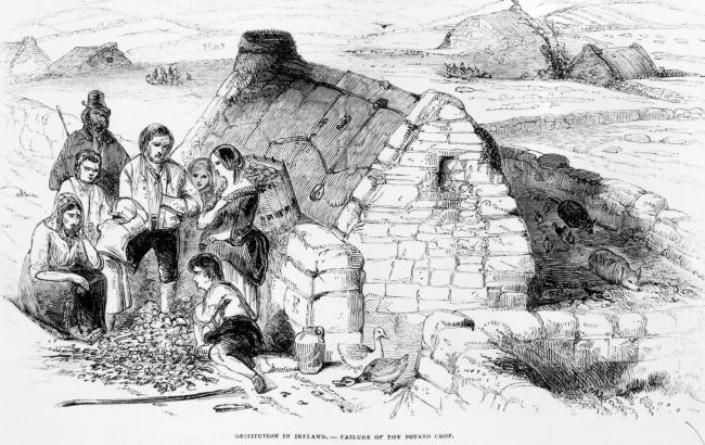 An 1846 drawing of a destitute family during the Great Famine