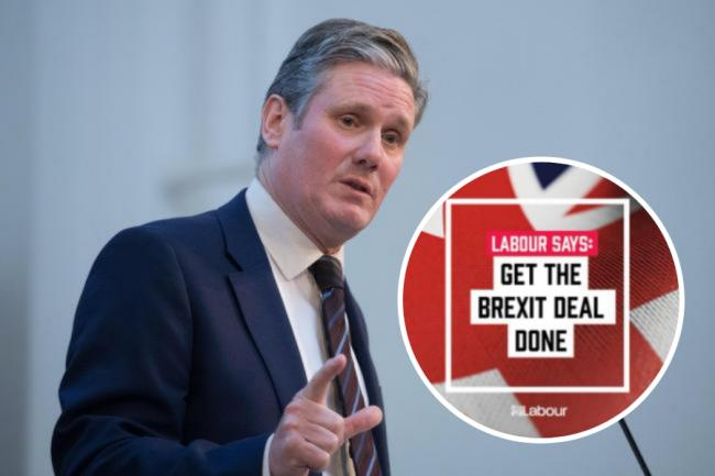 Keir Starmer's party has opted for a new ad promoting Brexit on a Union flag backdrop