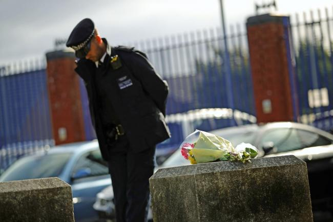 Flowers left outside the Croydon custody centre in south London