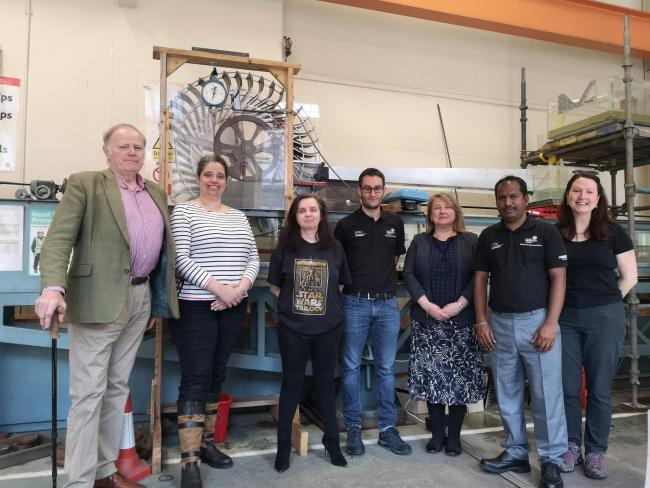 The project team at the prototype site at Abertay University. Inventor of the wheel, Pemelope Carruthers (second from left) said the wheel has the possibility to change the lives of many