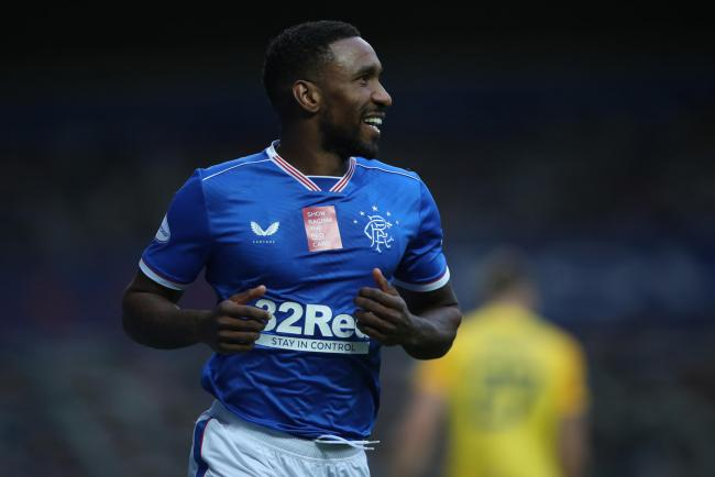Jermain Defoe of Rangers celebrates after scoring his team's second goal at Ibrox