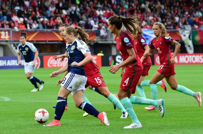 Erin Cuthbert on her way to scoring against Portugal for Scotland's first goal at a major championship