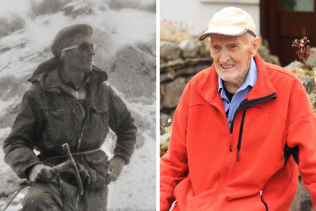 Hamish MacInnes – pictured climbing Everest in 1953, left (Final Ascent) – died at home on Sunday