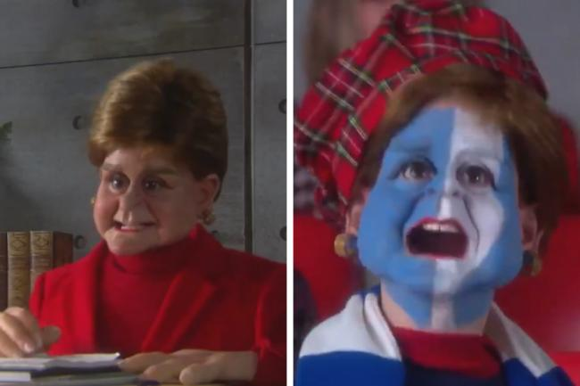 The short sketch shows Nicola Sturgeon in her office, and at a Scotland football game